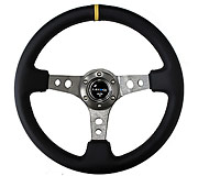 "NRG Sport Steering Wheel 350MM 3"" Deep (Gun Metal / Yellow Center Marking)"