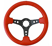 "NRG Sport Steering Wheel 350MM 3"" Deep (Red Leather / Yellow Stitching)"