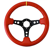 "NRG Sport Steering Wheel 350MM 3"" Deep (Red Leather / Yellow Stitching / Yellow Center)"