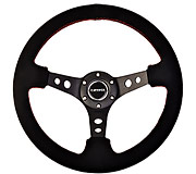 "NRG Sport Steering Wheel 350MM 3"" Deep (Black Suede / Red Stitching)"