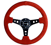 "NRG Sport Steering Wheel 350MM 3"" Deep (Red Suede / Black Stitching)"