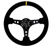 "NRG Sport Steering Wheel 350MM 3"" Deep (Black Suede / Yellow Center Marking)"