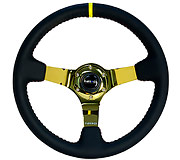 "NRG Sport Steering Wheel 350MM 3"" Deep (Black Leather / Red BB Stitch / Gold Center)"